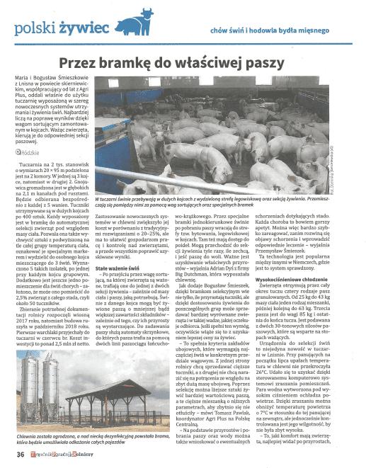 """Artykuł z """"Tygodnik Poradnik Rolniczy"""" – lipiec 2019r."""